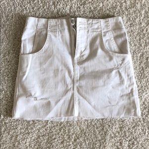 white free people jean skirt